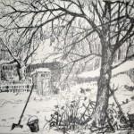 «Зима. Воробушки» 2012. бумага, тушь 15х20