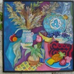 «Натюрморт с виноградом» 2009, х/б, горячий батик, 86х86