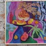 «Натюрморт с полосатой драпировкой» 2008, х/б, горячий батик, 86х86