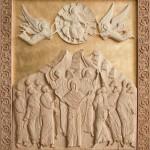 «Вознесение», 57х68 см, 2010, резьба (липа), морилка, мастика, левкасный грунт, сусальное золото