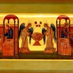 «Причащение Апостолов – Евхаристия» 2009. ДВП, левкас, яичная темпера, сусальное золото, копаловый лак с воском, 30х55