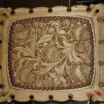 Панно «Цветы», рельефная резьба по дереву, 81х67 см., 2006 г.